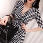 Houndstooth Elbow-sleeve Maxi A-line Dress