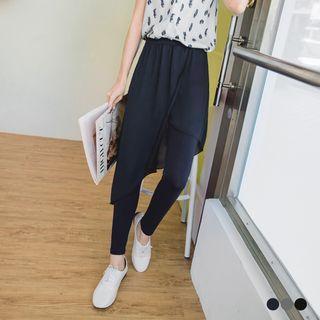 Asymmetrical Chiffon Skirt Leggings