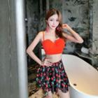 Set: Bikini Top + Cherry Print Swim Skirt + Bottom