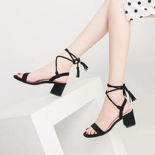 Lace-up Ankle Strap Block Heel Sandals