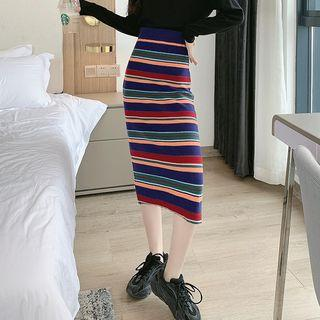 Striped Slim-fit Skirt As Figure - One Size