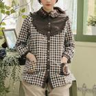 Flower-embroidered Yoke Plaid Blouse Brown - One Size