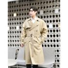 Long Double-breasted Trench Coat With Belt