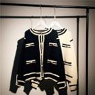 Round-neck Color-block Knitted Cardigan