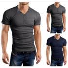 Short-sleeve V-neck Tabbed T-shirt