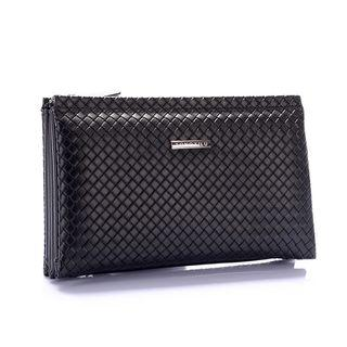 Genuine-leather Woven Clutch