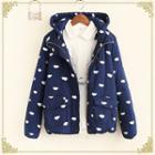 Hooded Printed Padded Zip Jacket