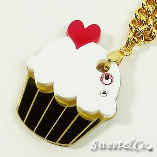 Mini White Cupcake Crystal Gold Necklace