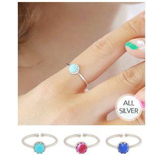 Faux-gem Adjustable Silver Ring