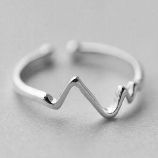 Heartbeat 925 Sterling Silver Open Ring Silver - One Size