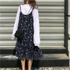 Floral Loose-fit Sleeveless Dress Navy Blue - One Size