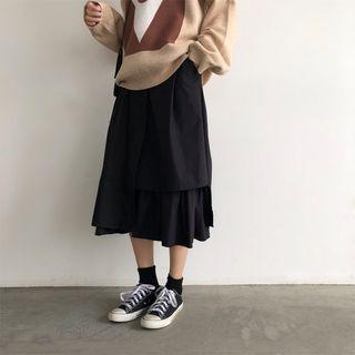 Asymmetric-hem Midi A-line Skirt Black - One Size