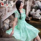 Short-sleeve Embroidered Ruffled Dress