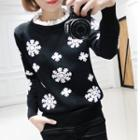 Snowflake Frill Collar Sweater