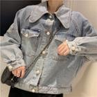 Long-sleeve Faux Pearl Denim Jacket