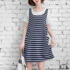 Set: T-shirt + Striped Tank Dress