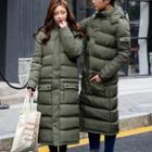Couple Matching Plain Hooded Long Padded Coat