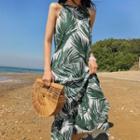 Leaf-patterned Halter-neck Long Dress