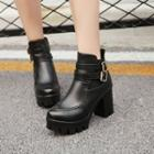 Buckled Block Heel Platform Short Boots