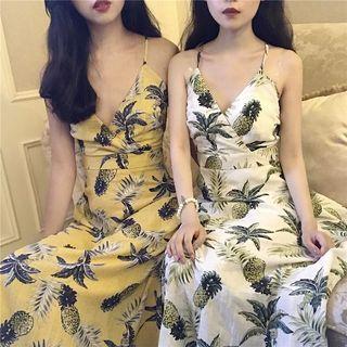 Pineapple Print Spaghetti Strap A-line Dress