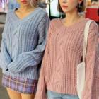 Cable Knit V-neck Top