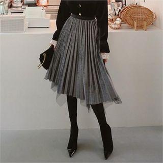 Mesh-overlay Pleated Midi Velvet Skirt