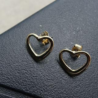 Heart Metallic Earrings Gold - One Size
