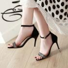 Sequined Ankle Strap Stiletto Heel Sandals