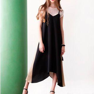 Color-block Maxi Dress Black - One Size