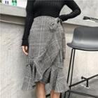 Check Ruffle Midi-skirt