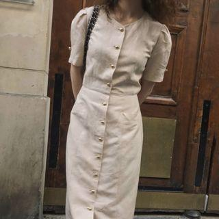Button Short-sleeve Midi Sheath Dress