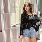 Cross-strap Open-knit Top