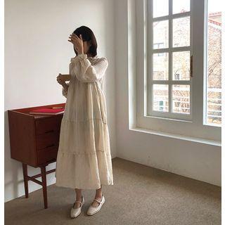 Frill-trim Long Tiered Dress
