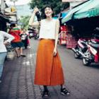 Pleated Midi Wrap Chiffon Skirt