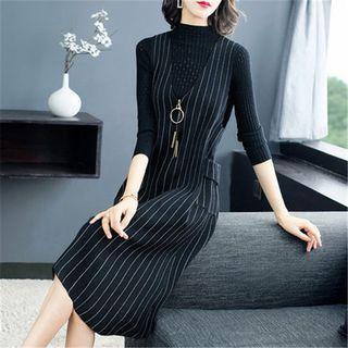 Set: Mock-turtleneck Perforated Ribbed Knit Top + Striped Midi Pinafore Dress