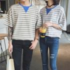 Striped Short-sleeve Couple Matching T-shirt