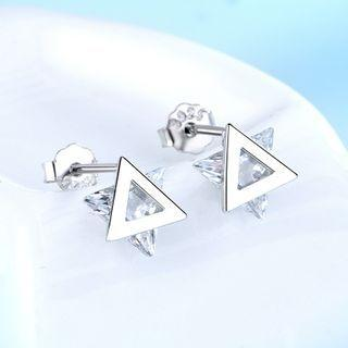 925 Sterling Silver Rhinestone Triangle Earring 1 Pair - 925 Silver - White - One Size