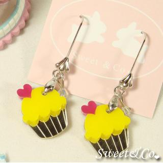 Mini Yellow Cupcake Crystal Silver Earrings