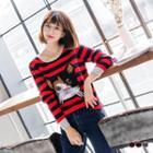 Striped Cat Graphic Sweater