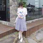 Set: Printed Tee + Striped Skirt