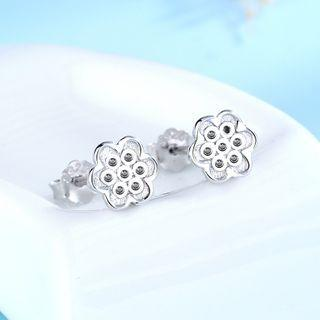 925 Sterling Silver Flower Earring 1 Pair - 925 Silver - White - One Size