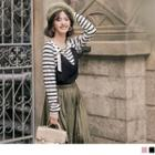 Mock Two Piece Striped Panel Long Sleeve Top