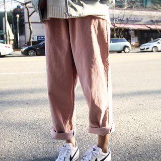 Drawcord Corduroy Baggy Pants