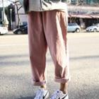 Drawcord Corduroy Baggy Pants