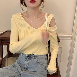 Mock Two-piece Plain Knit Top