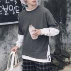 Mock Two-piece Embroidered Long-sleeve Sweatshirt