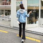Contrast-hooded Washed Boxy Denim Jacket