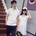 Couple Matching Contrast Trim Short Sleeve Polo Shirt/ Short Sleeve Polo Shirt Dress