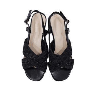 Cross-strap Woven Sandals
