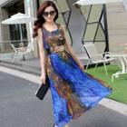 Printed Sleeveless Maxi Sun Dress